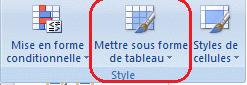 Appliquer un style de tableau dans Excel