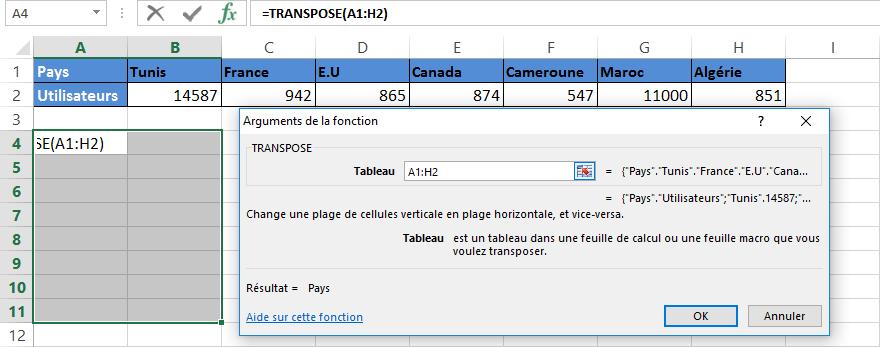 Microsoft Excel Transposer des données de lignes vers des colonnes, ou inversement