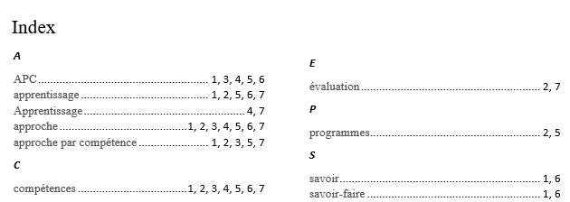 Création d'un index sous word