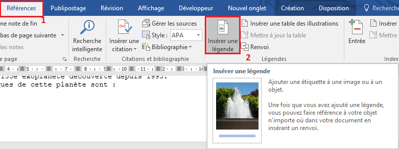 tableau word legende