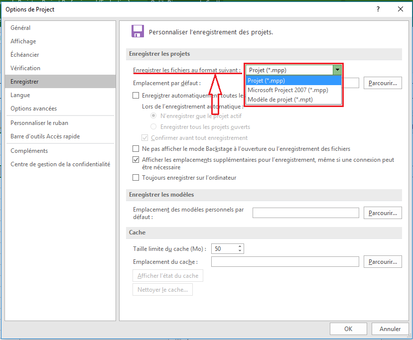 MS project enregistrer fichiers au format suivant