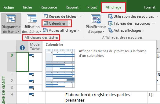 Imprimer le calendrier de projet