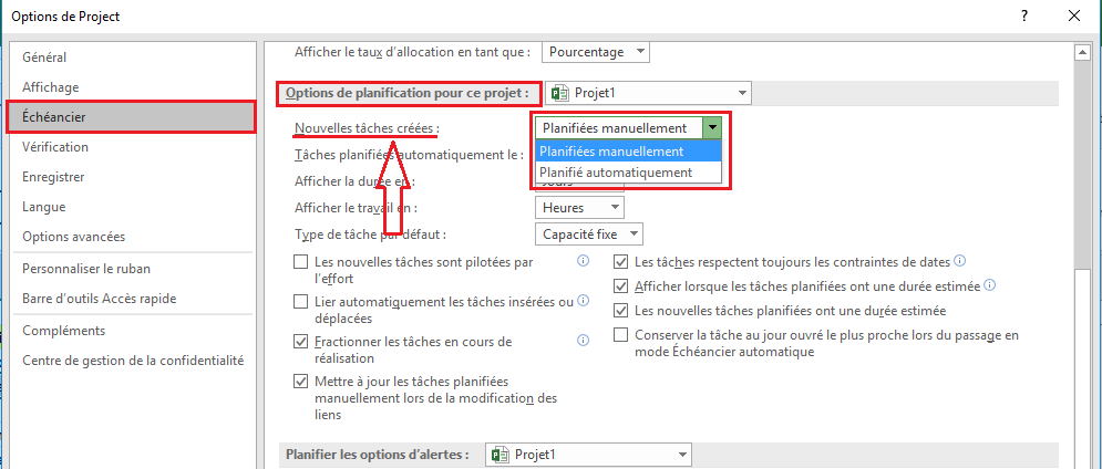 Options de projet