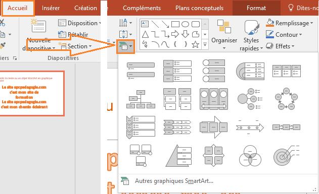 PowerPoint: Convertir du texte ou un objet WordArt en graphique SmartArt