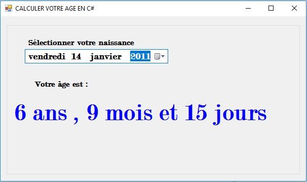 c#: TP Calculer votre age en C sharp