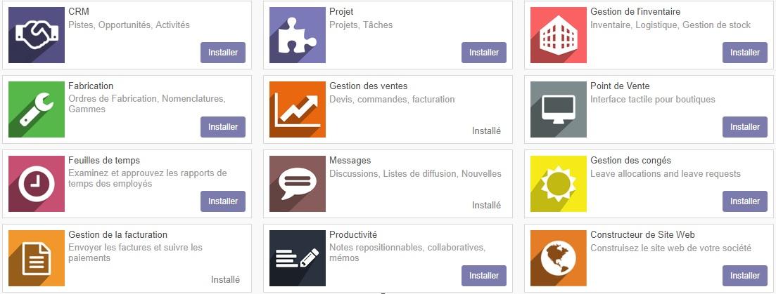 Applications fonctionnelles principales du logiciel Odoo