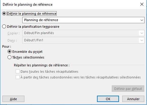 Ms Project : Enregistrer une planification de référence