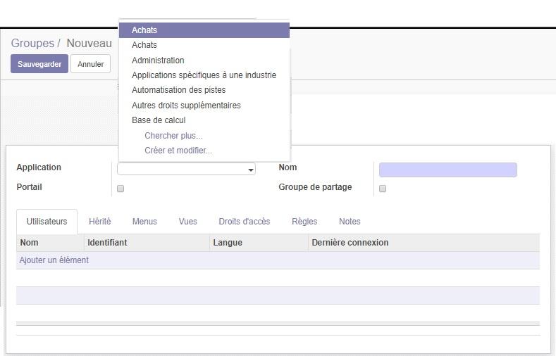 Créer et gérer un compte utilisateur pour Odoo