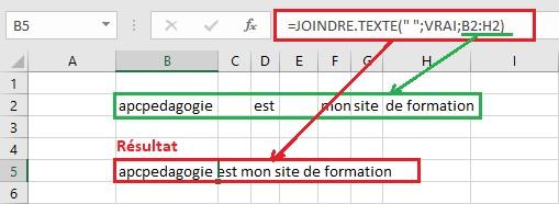Fonction JOINDRE.TEXTE d'Excel