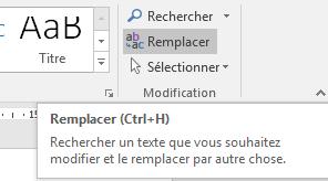 la commande remplacer Word 2013