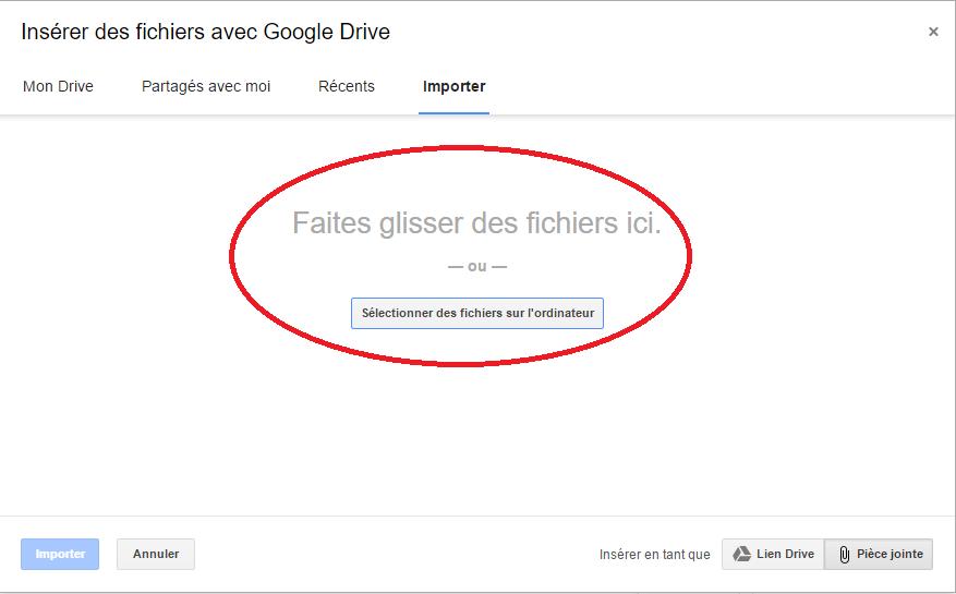 insérer fichiers google Drive
