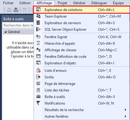 Visual Studio:l'explorateur de solutions