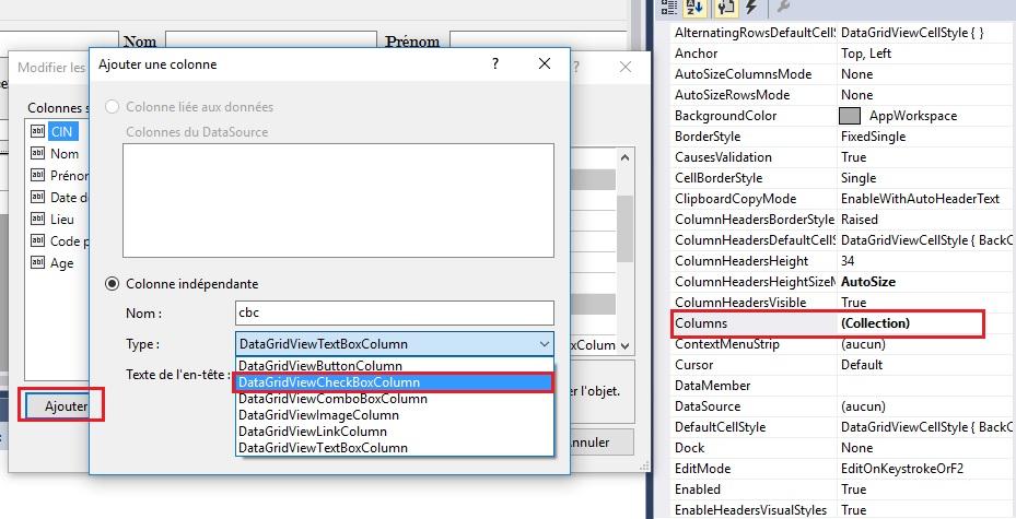 Ajouter un CheckBoxColumn à un DataGridView en c sharp
