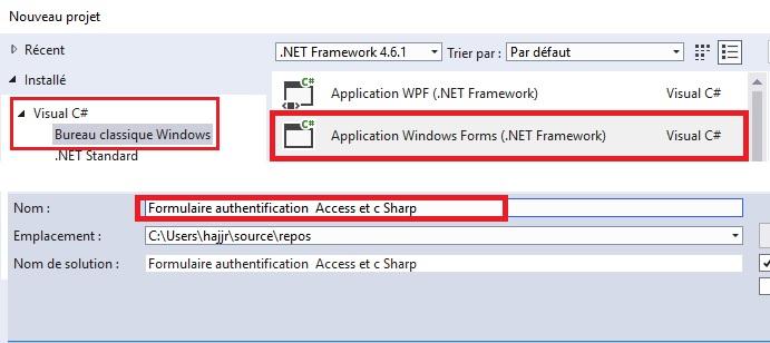 Formulaire d'authentification avec Access et c Sharp