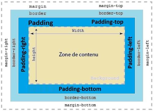 Dans le modèle des feuilles de style, tous les éléments d'une page HTML se coulent dans des blocs (ou «boîtes») rectangulaires. Un bloc typique est représenté ci-dessous :