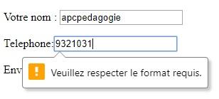 Saisie de numéro de téléphone en HTML