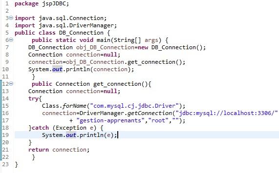 Connecter une JSP avec MySQL