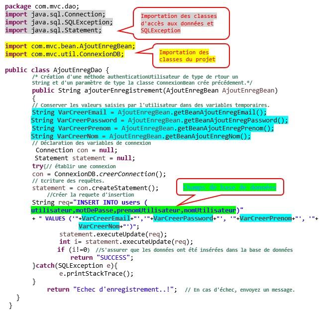 Application d'enregistrement utilisant MVC et MySQL