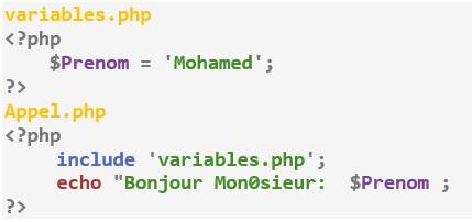 Inclure des fichiers dans un autre en PHP