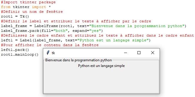 Les widgets Tkinter-LabelFrame
