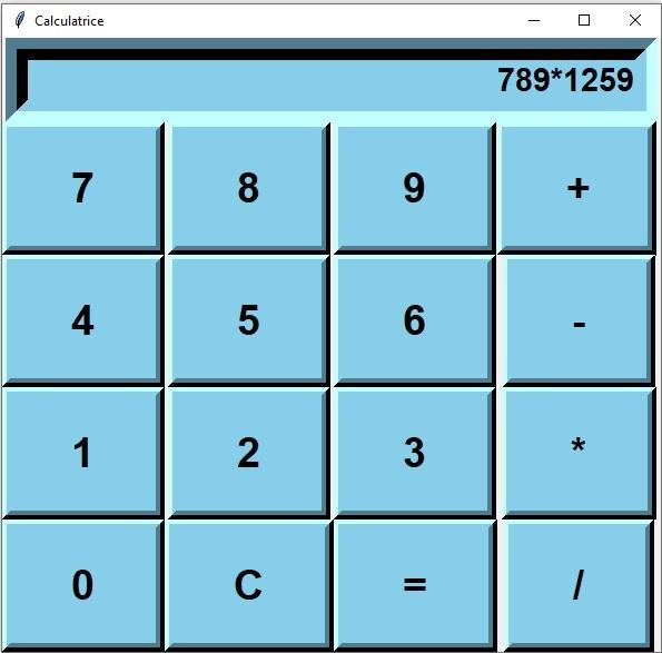 calculatrice Tkinter Python
