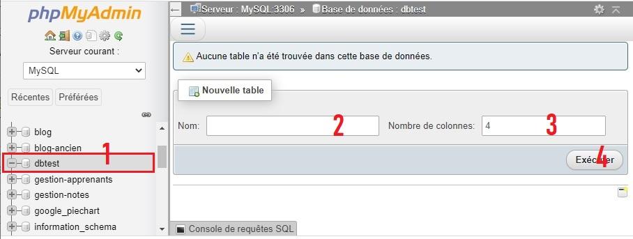 Créer et remplir des tables avec phpMyAdmin