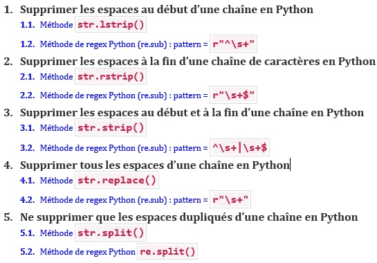 Supprimer les espaces au début d'une chaîne en Python